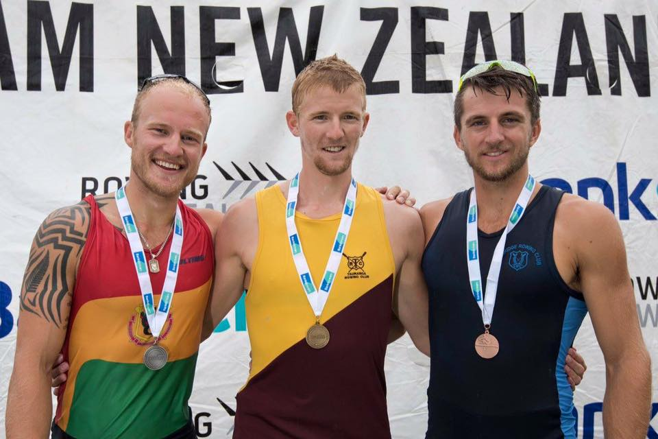 Podium for the Skinny mans single at the 2016 NZ Nationals. Adam Ling (current World Champ in this very event) won gold and my training partner Matthew Dunham got up for the bronze. Cheers rowing celebration for taking the podium shots.