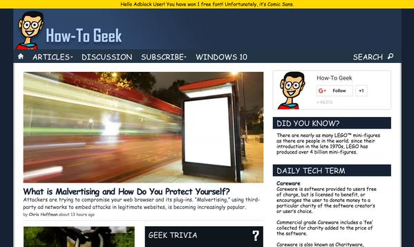 Comic Sans on How-To-Geek when an ad-blocker is detected