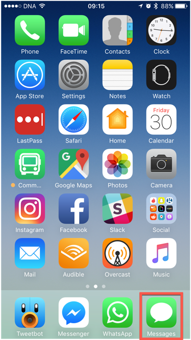 The Messages app on an iOS 10 Homescreen