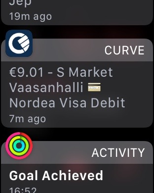 Apple Watch payment notification