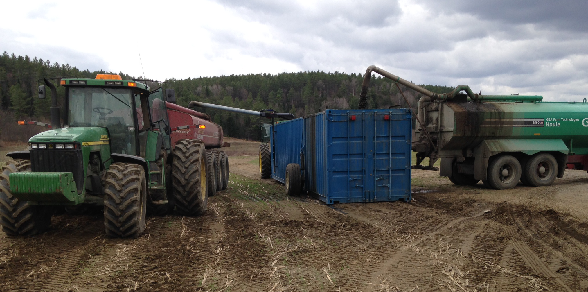 """""""Frac Tank"""", this is our mobile holding tank for manure. We use this to offload manure into with large tankers and can then either use a spreader with floatation tires in the field or a drag hose system which pipes the manure from the tank to the tractor to be spread."""