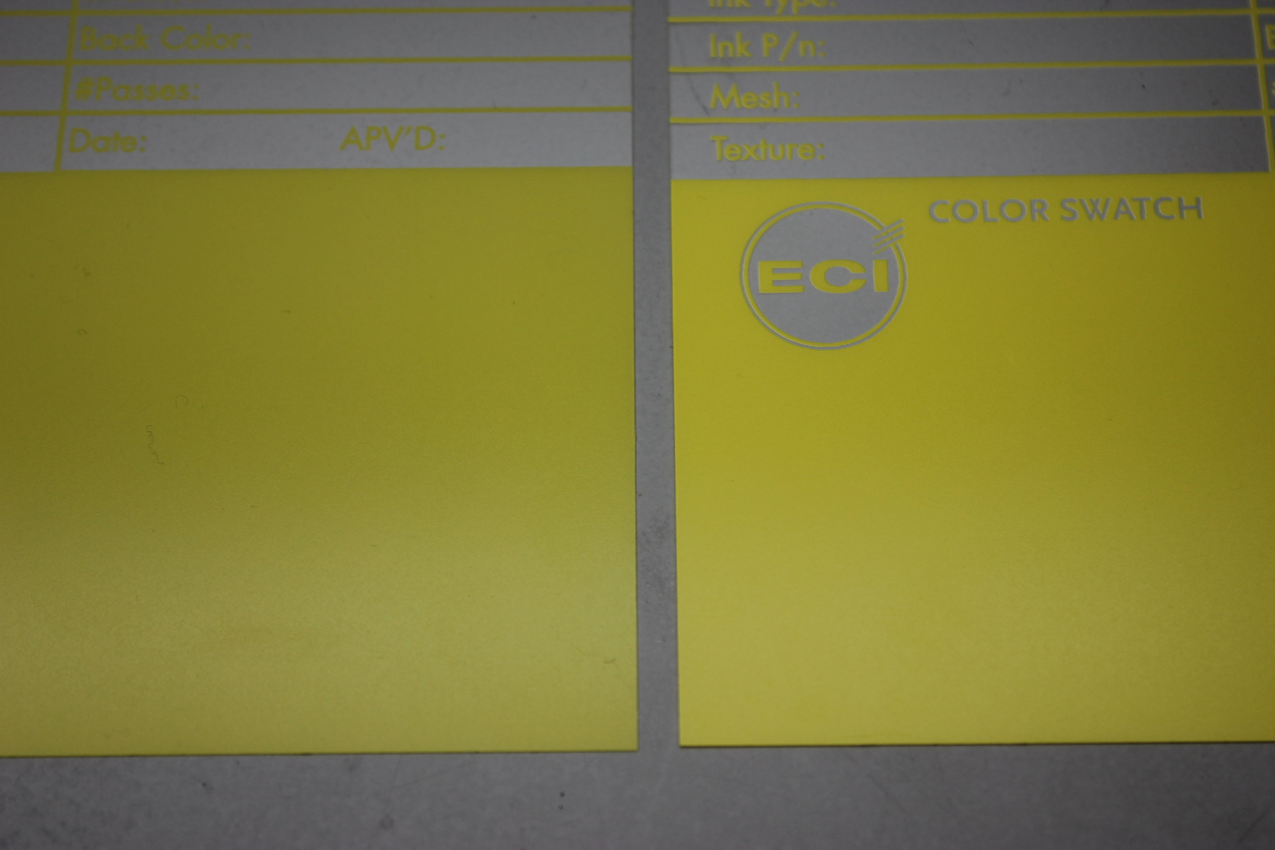 Both of the color swatches shown above show the same color. However, the one on the right has a white back flood while the swatch on the left does not. Notice that the swatch on the left is slightly transparent because the ink has no backing to it. The colors themselves look drastically different as the swatch with the white backer flood looks more vibrant.