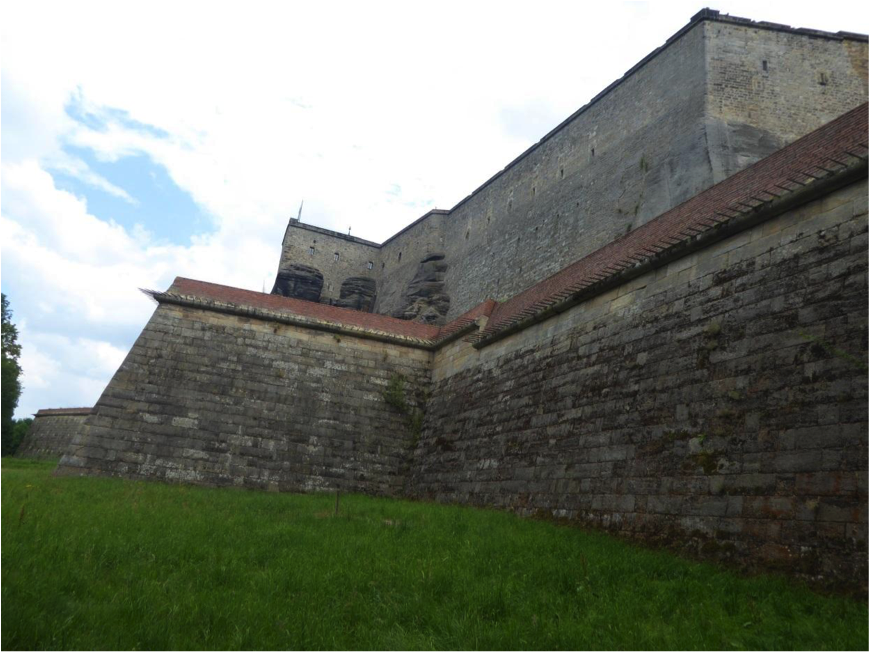 Outer Bastion showing anti-personnel spikes embedded in the parapet.