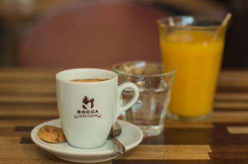 """Koffie   De eerste beschrijvingen van het woord """"koffie"""" vermelden allemaal dat het zijn oorsprong heeft in Ethiopië (het oude Abessinië). Onze Gusto Blend van  Bocca  is biologisch en bestaat naast drie koffies uit Ethiopië, ook uit een Braziliaanse koffie. De verschillende koffies worden los van elkaar gebrand en vervolgens gemengd. Door de hoeveelheid aan Ethiopische koffie in de Gusto Blend is dit een fruitige en onweerstaanbare espresso in al onze koffies!"""