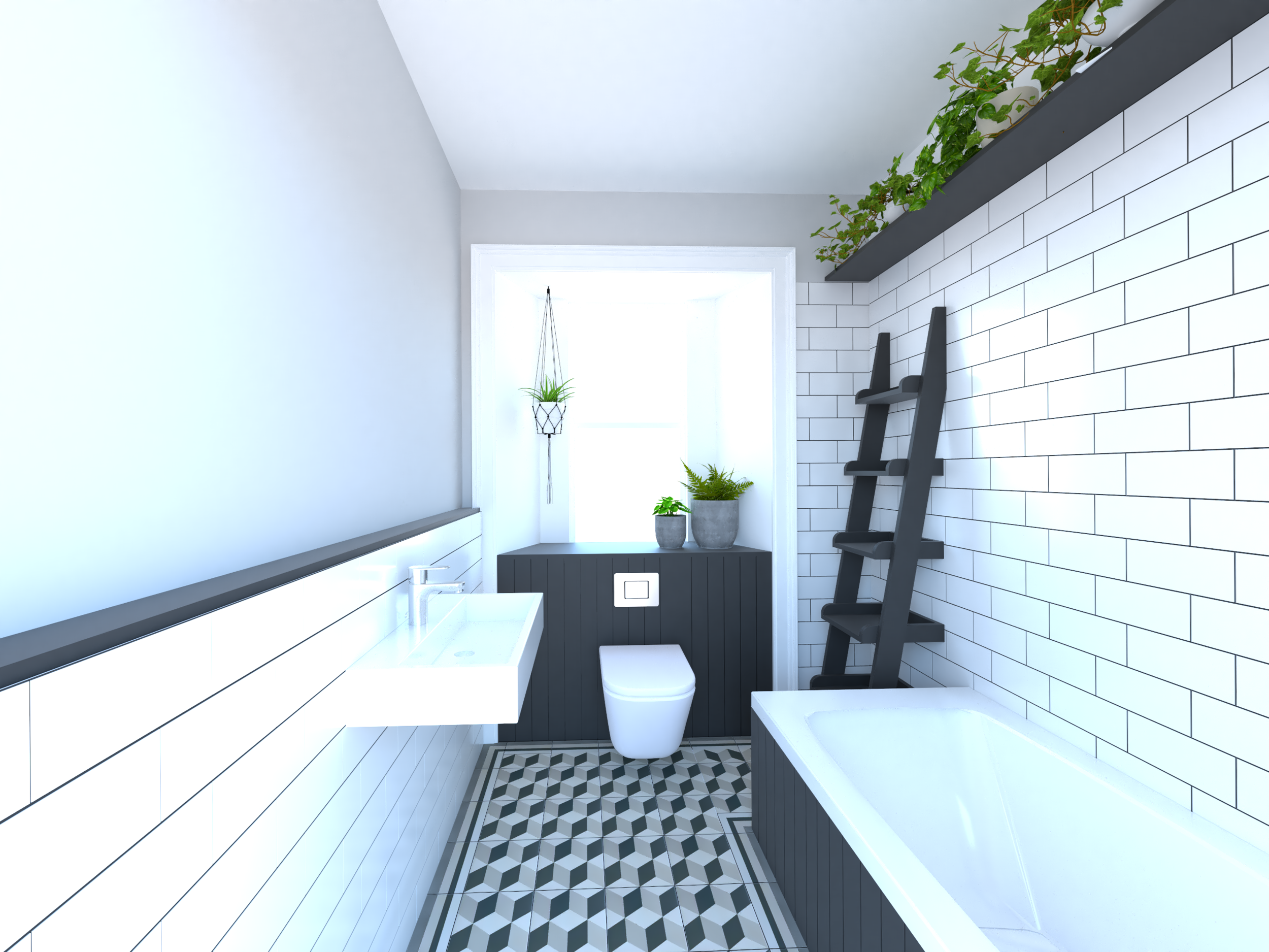 The Proposed bathroom with tiles from Walls and Floors and Sanitaryware from Ideal Standard and Grohe.