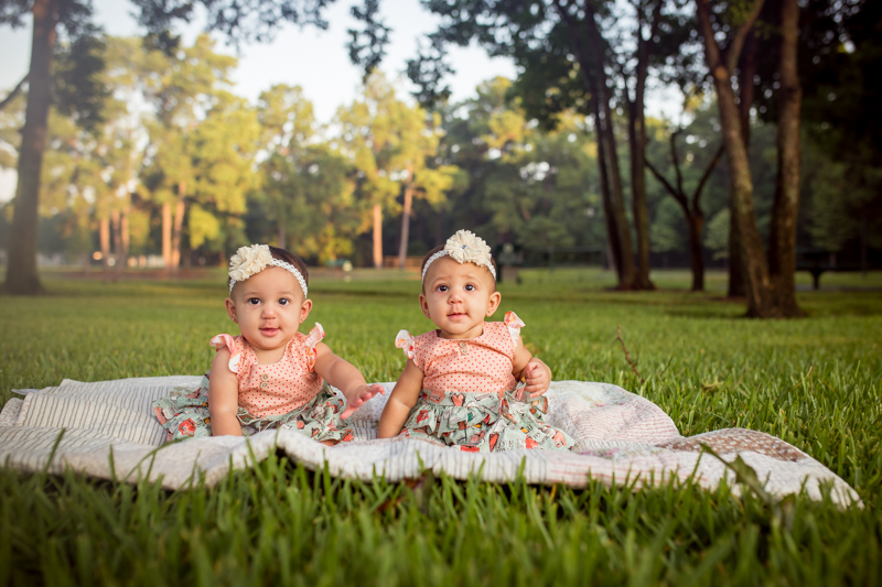 6 month outdoor twin session in cypress texas