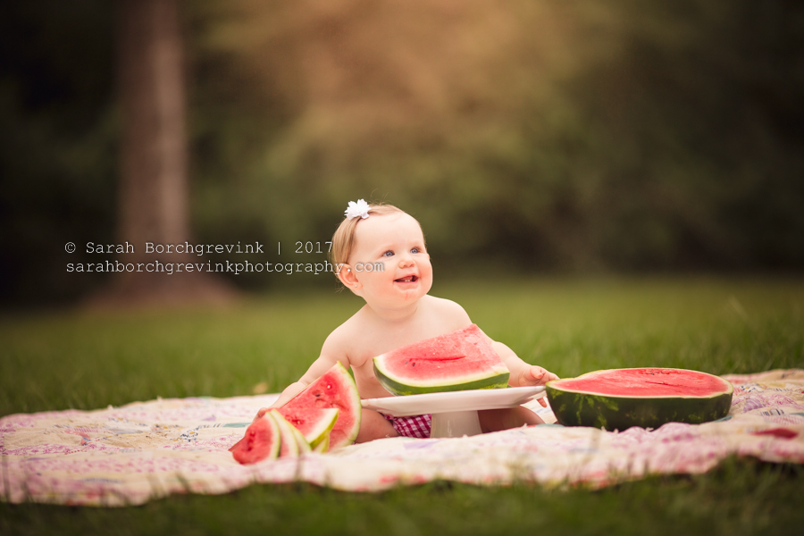 Watermelon Cake Smash First Birthday Photos