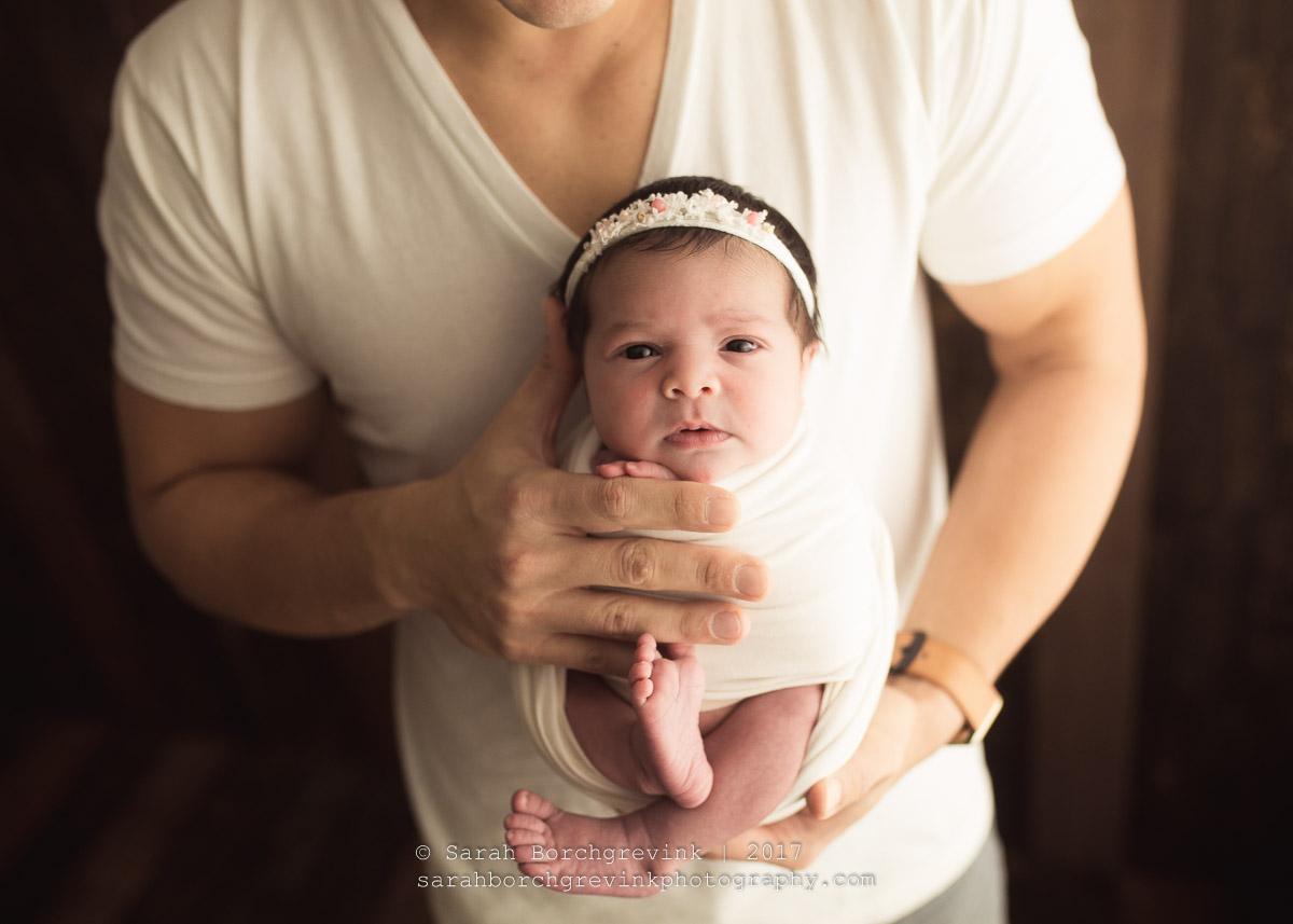 Dad and Newborn Baby Posing
