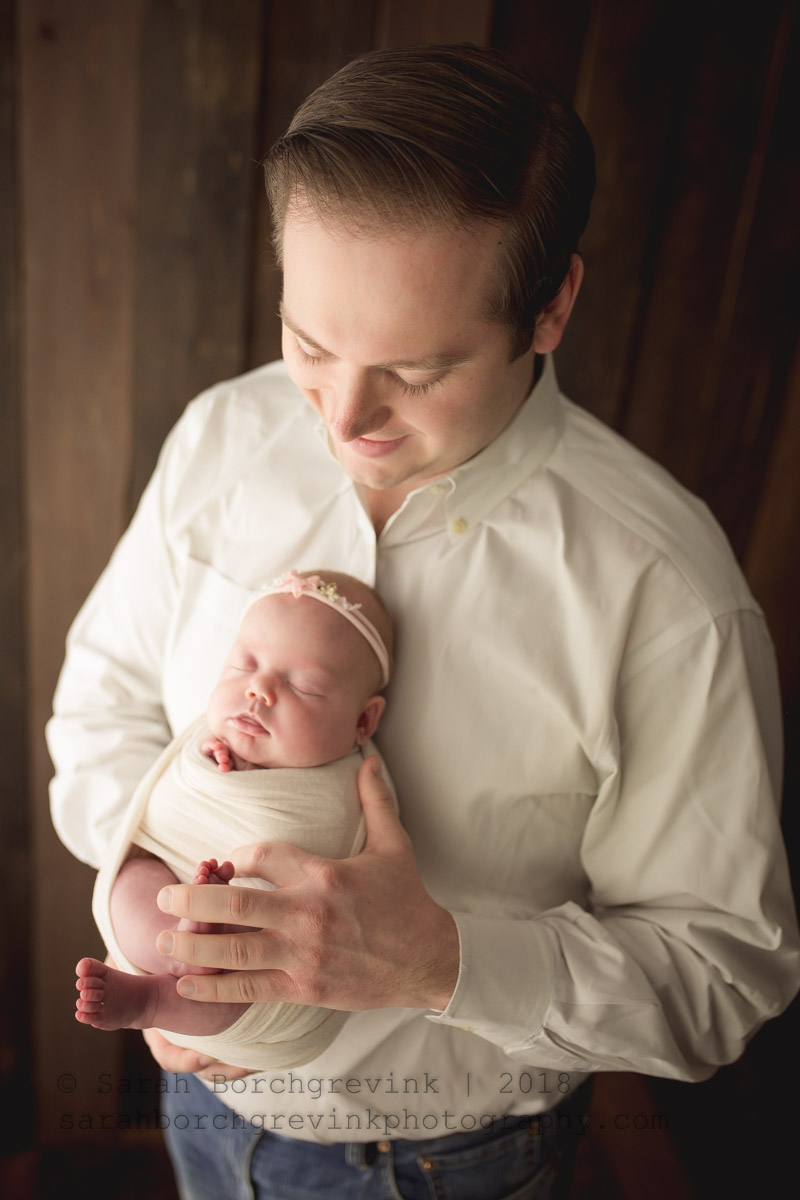 newborn girl and father photography