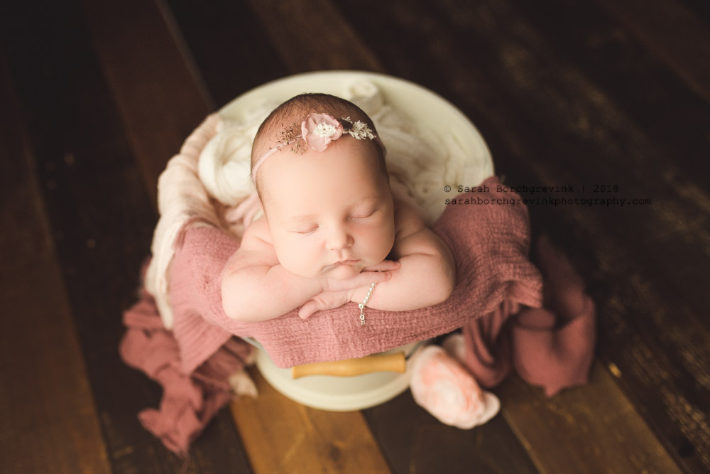 blush pink and mauve newborn photos
