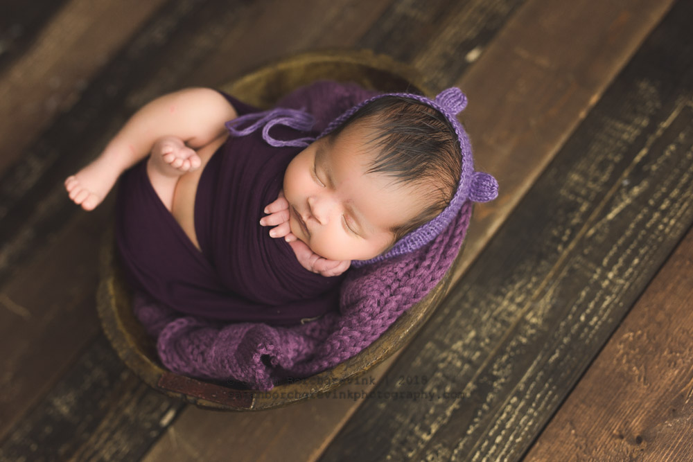 purple and violet bear hat newborn girl