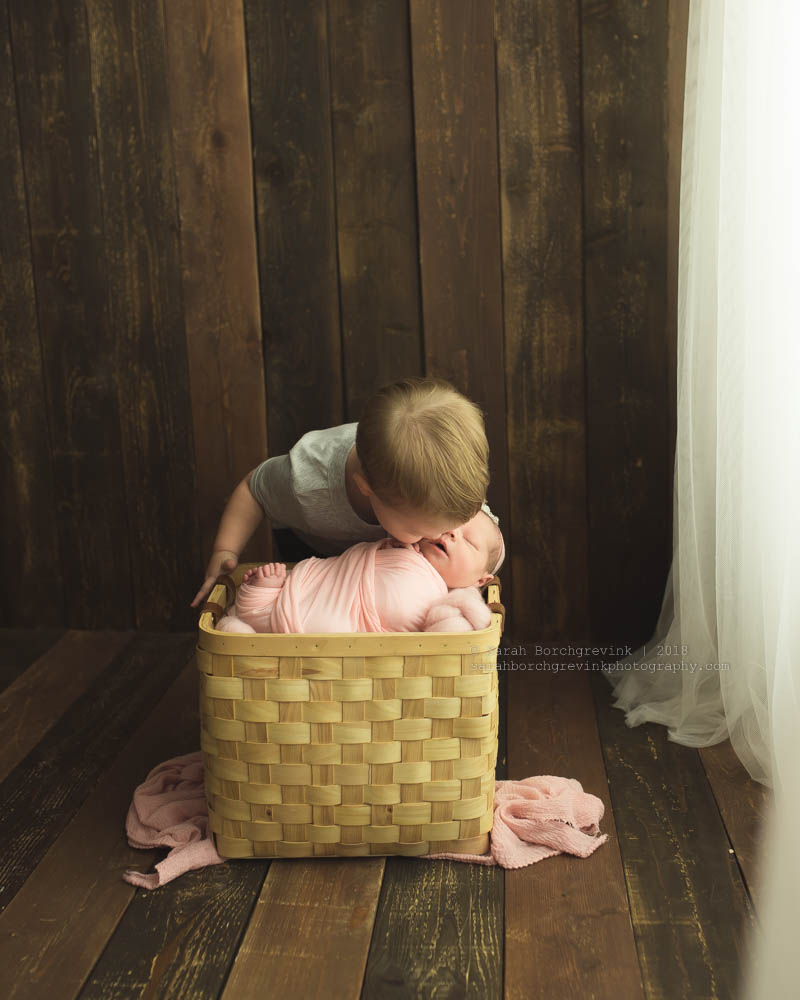 toddler sibling and newborn sister photo ideas