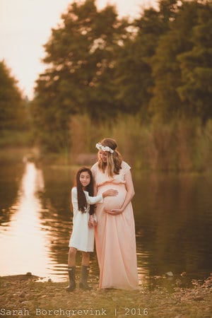 Mom and Daughter together in maternity photos