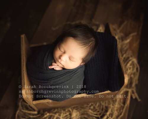 potato sack wrap newborn boy