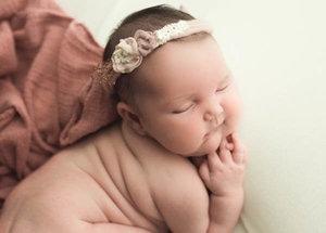 Peach and ivory headband newborn girl