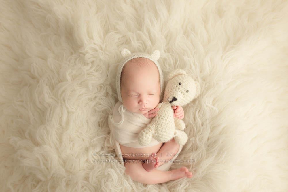 teddy bear bonnet photo prop for newborn baby