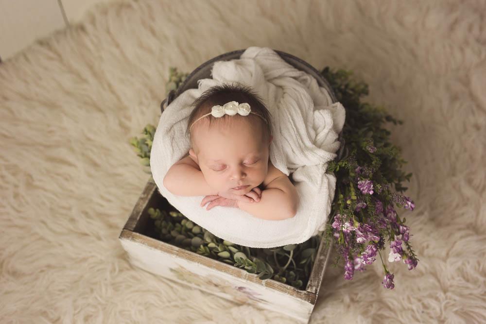 floral newborn girl headband and bucket