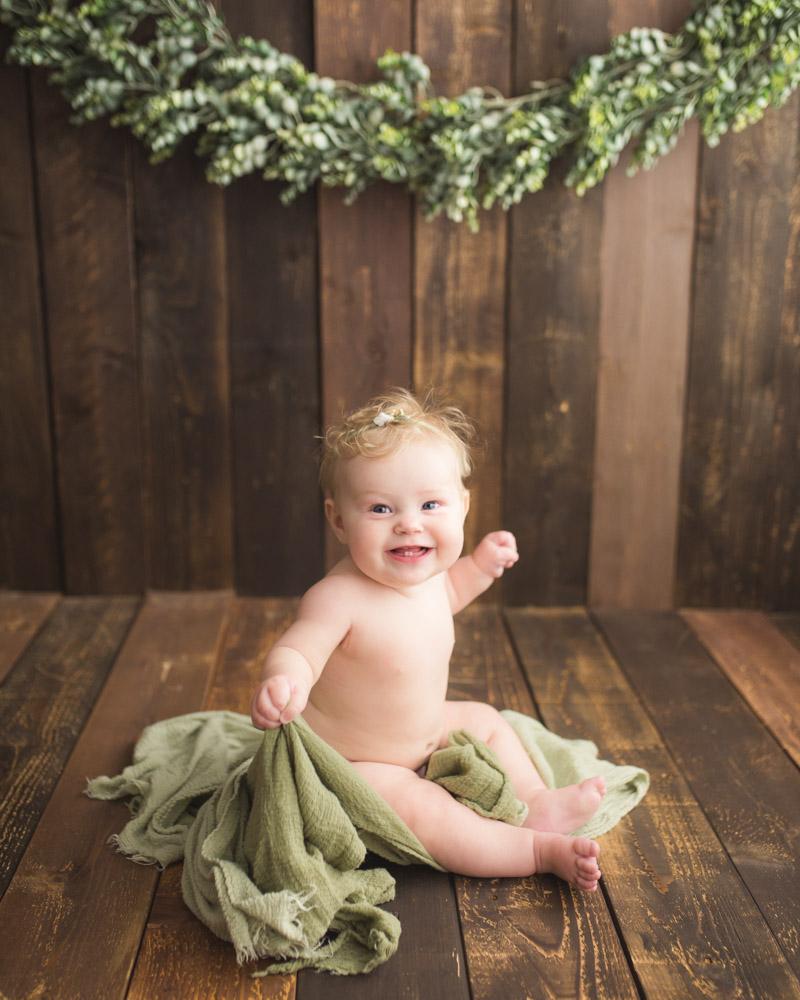eucalyptus vine setup with baby milestone portraits