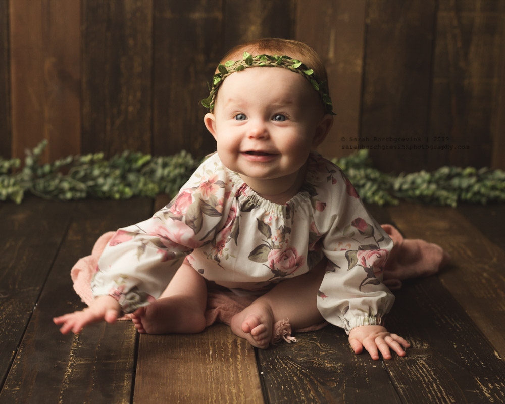 garland and leaves spring inspired infant photography