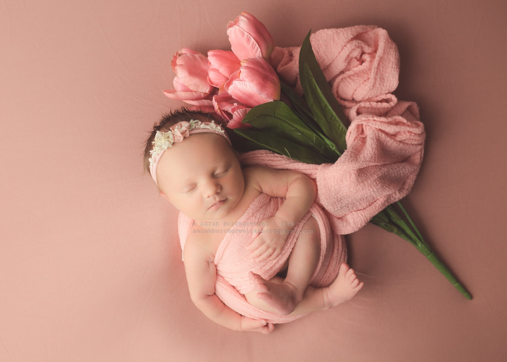 Floral Baby with Coral Color Scheme Photography