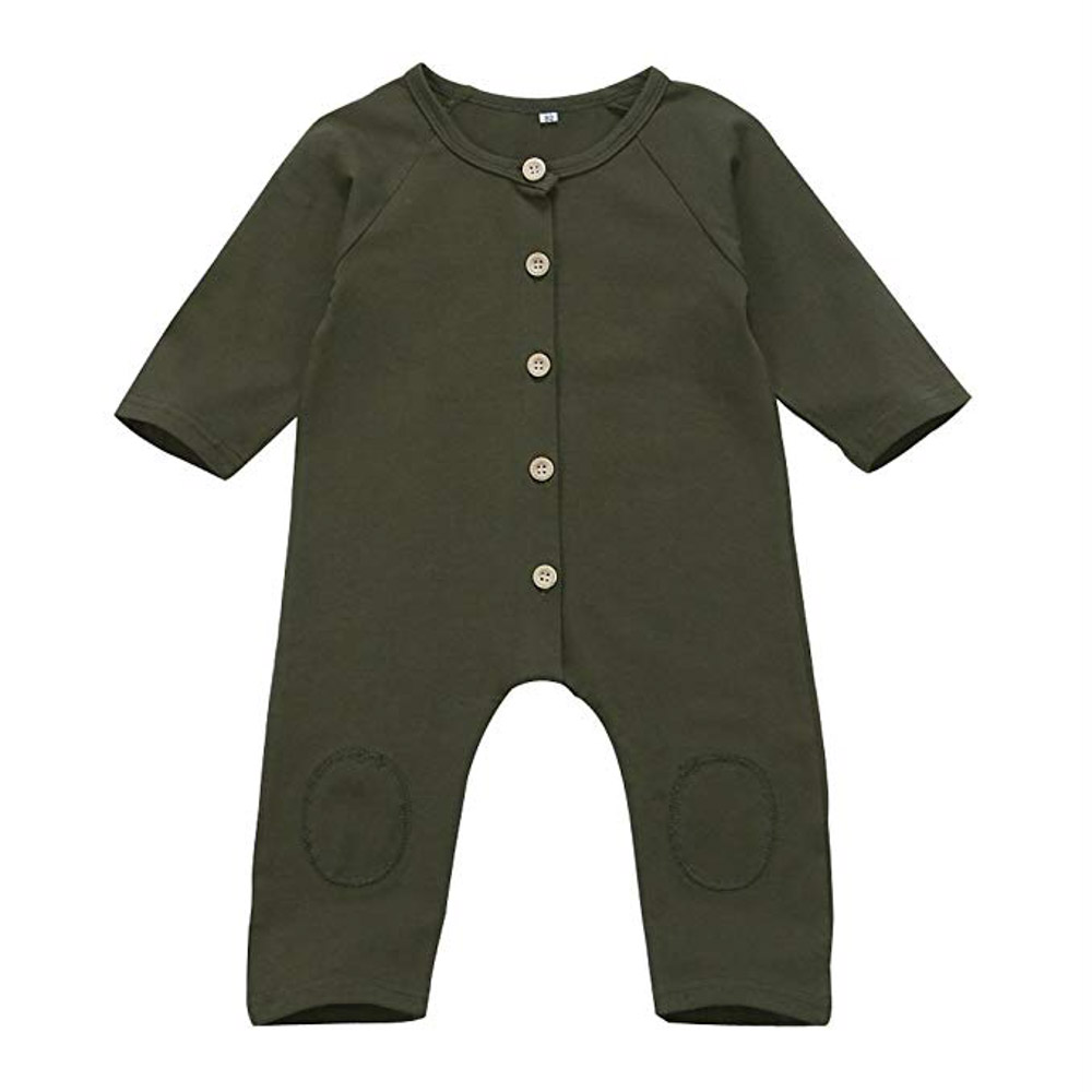 infant baby boy long sleeve romper jumpsuit in olive green