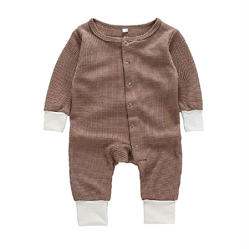 Long Sleeve Snap Button Thin Sweater Bodysuit (Brown, 6-9 Months)