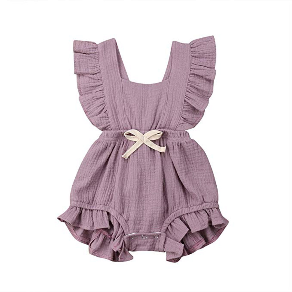 Baby Girl Romper Bodysuits Cotton Flutter Sleeve One-Piece Romper Outfits Clothes (Light Purple, 6-12 Months)