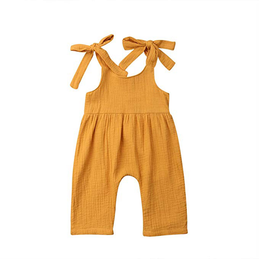 Sleeveless Strap Romper Jumpsuit Overalls Pants Outfits Summer Yellow/3-9 Months