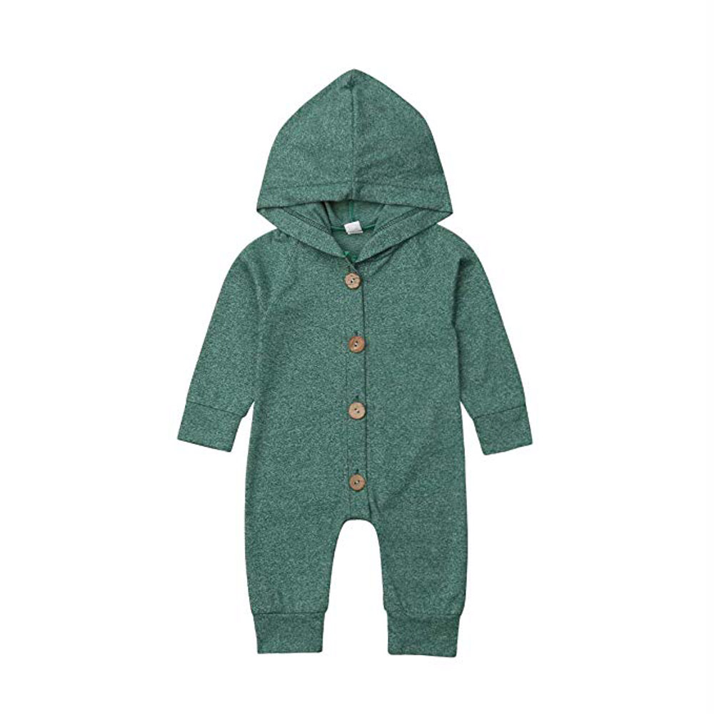 Baby Boys Cute Solid Color Long Sleeve Hooded Romper Jumpsuit