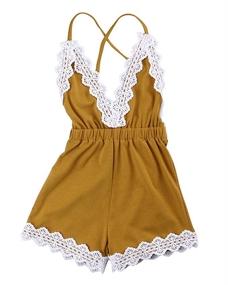 Baby Girls Halter One-Pieces Romper Jumpsuit Sunsuit
