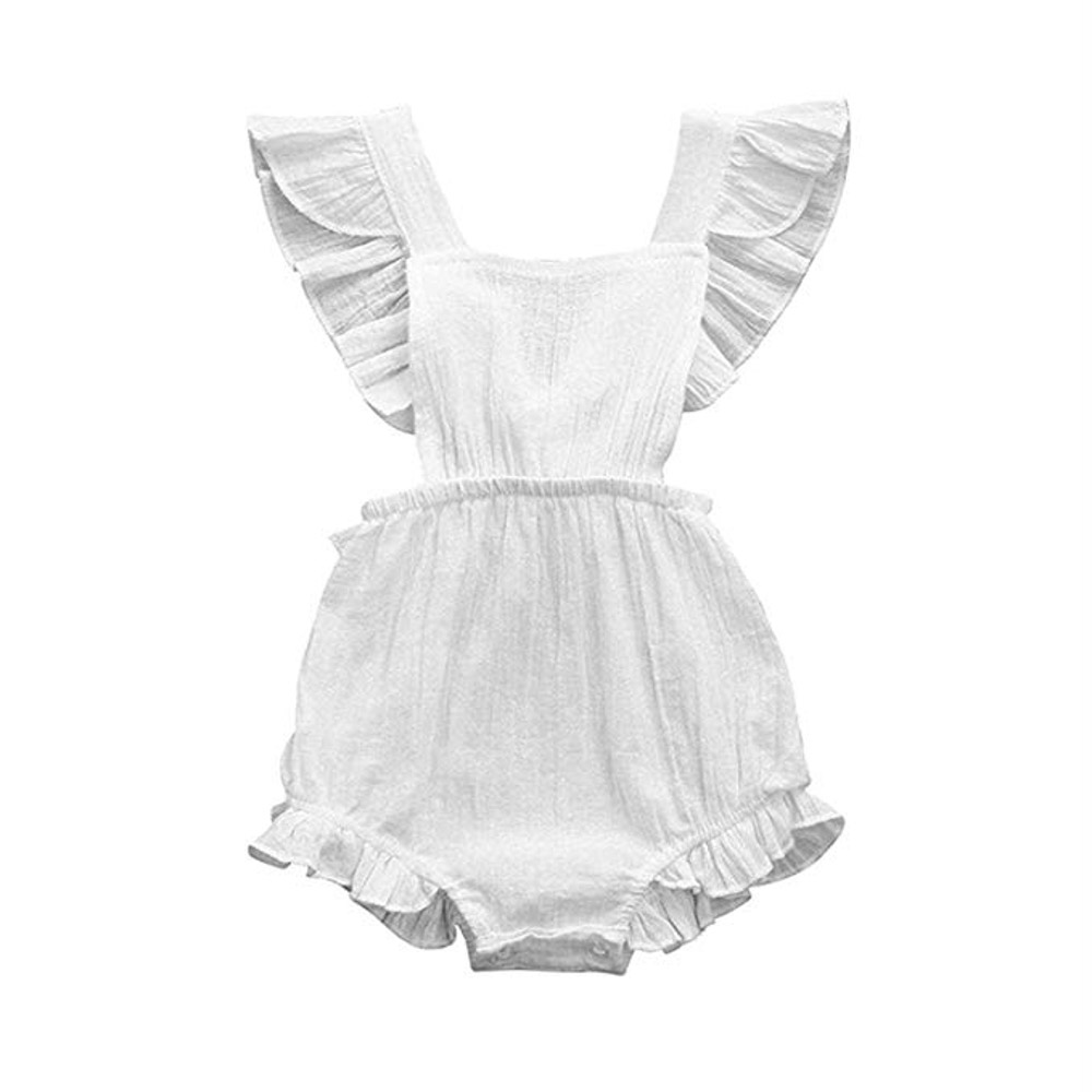 White  Bodysuit Sleeveless Ruffles Romper