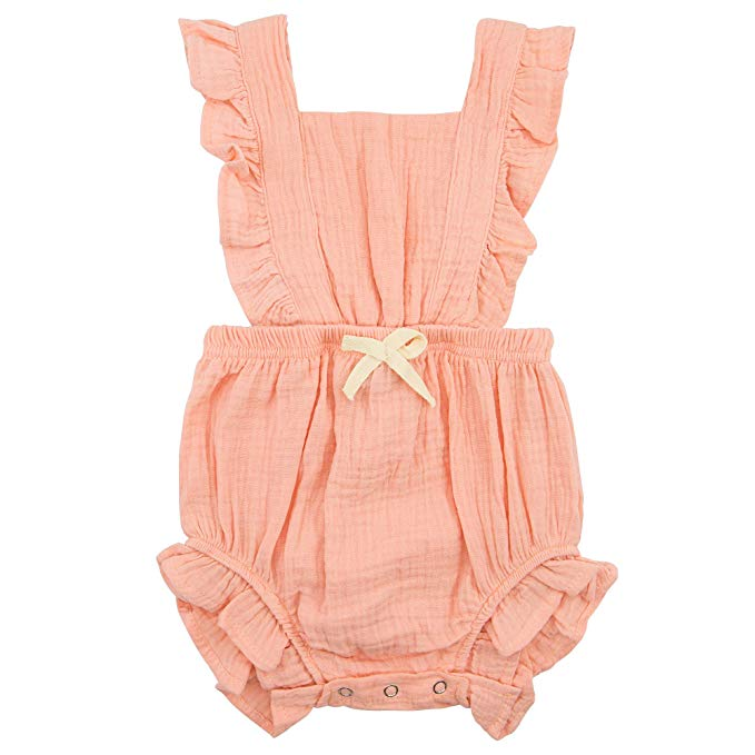 One-piece peach baby romper with ruffled collar
