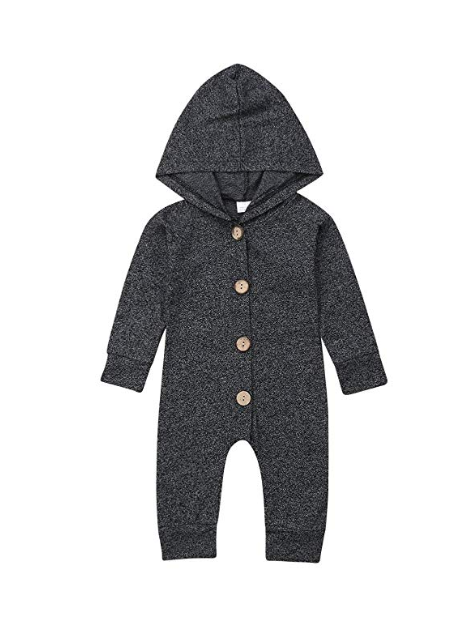 Boys Cute Solid Color Long Sleeve Hooded Romper Jumpsuit