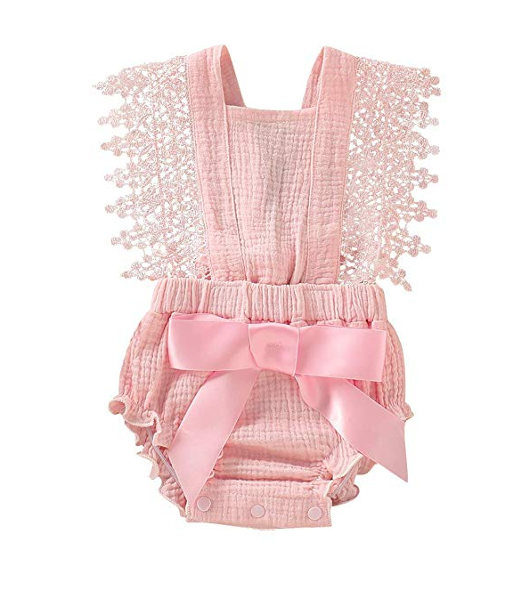 Light pink cotton and lace girl romper