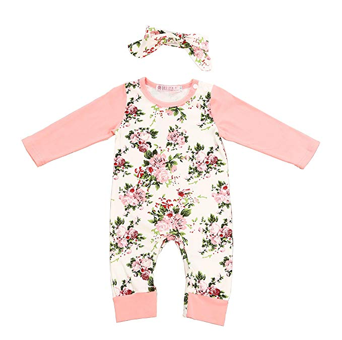 Baby Girl Clothes Floral Long Sleeve Footless