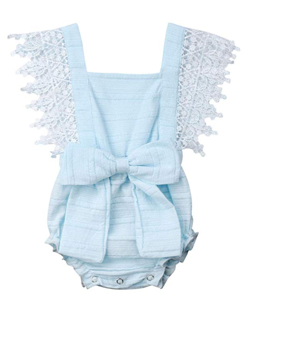 Baby Girl Chic Clothes Baptism Lace Jumpsuits