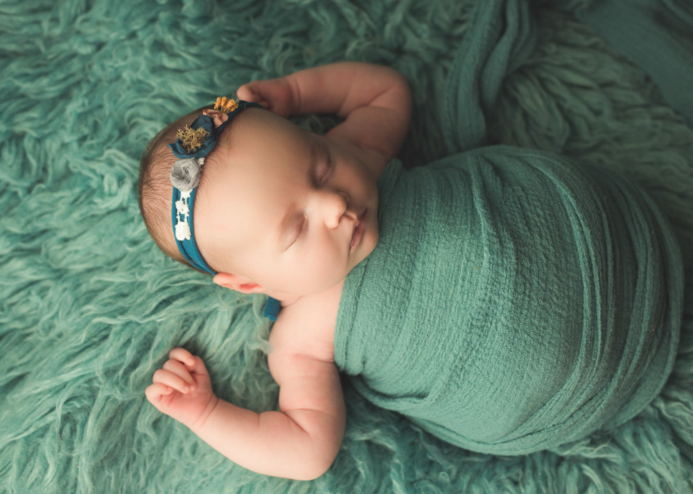newborn girl photography ideas with turquoise