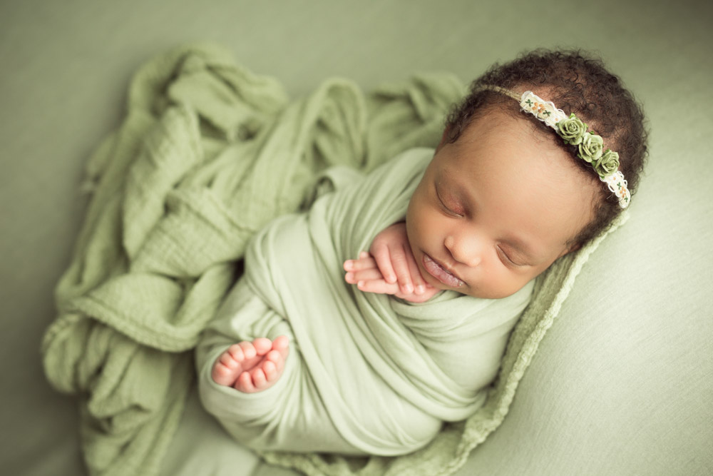 sage green accents newborn girl photography