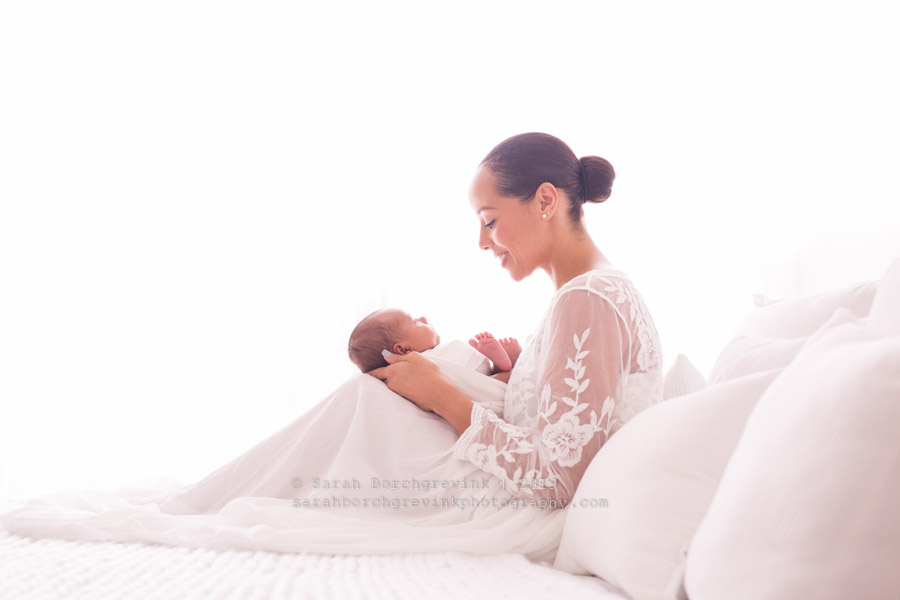 New mother and son during newborn photos