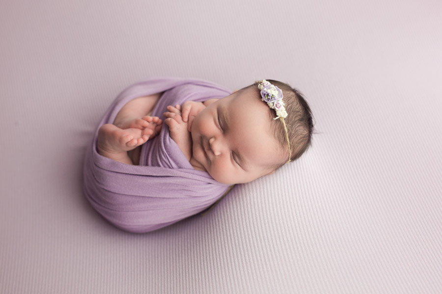 Baby Photography on Purple Backdrop