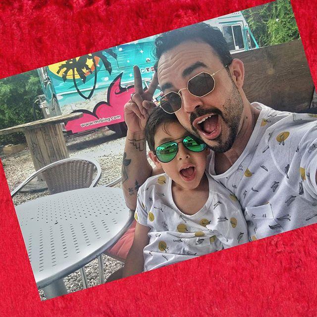 """Sure, Corny matching shirts, """"BUT"""" we looking FRESH 2 💀 🤘🏽🤘🏽🤘🏽ya hearddddd !!! #HappyFathersDay #Matchingshirts #Jkizzle #Mydude😍😎"""