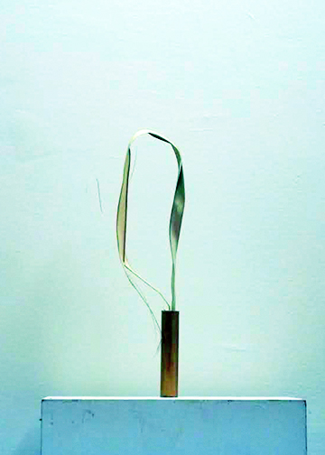 """""""Nadi Shodhana"""" cardboard, oil paint, palm leaf"""