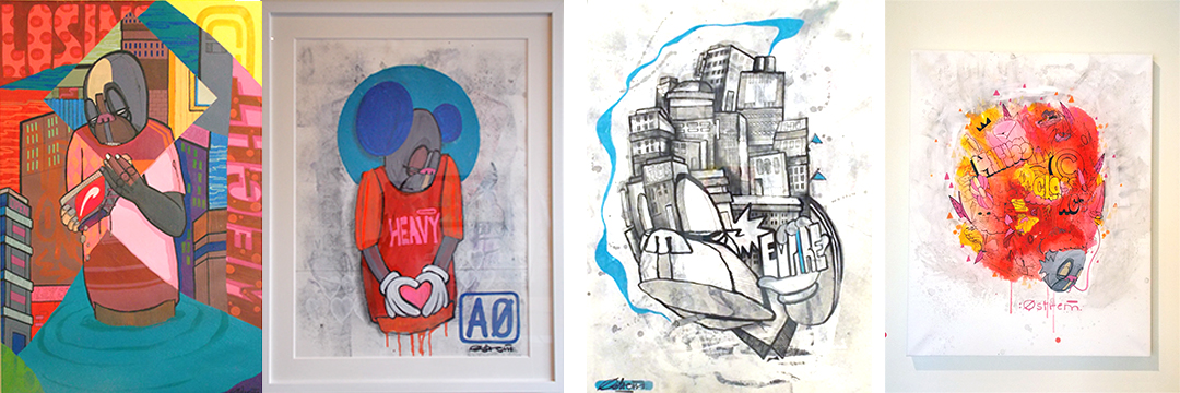 A few of Atle's paintings on canvas and on paper