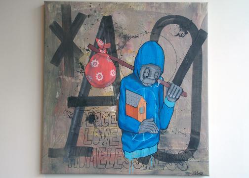"""""""Peace, Love, & Homelessness"""" acrylic on canvas"""