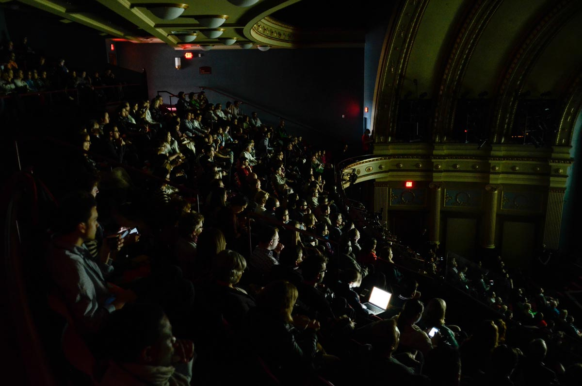 Spectators on the balcony of the Civic Theatre during TEDxGrandRapids 2014.