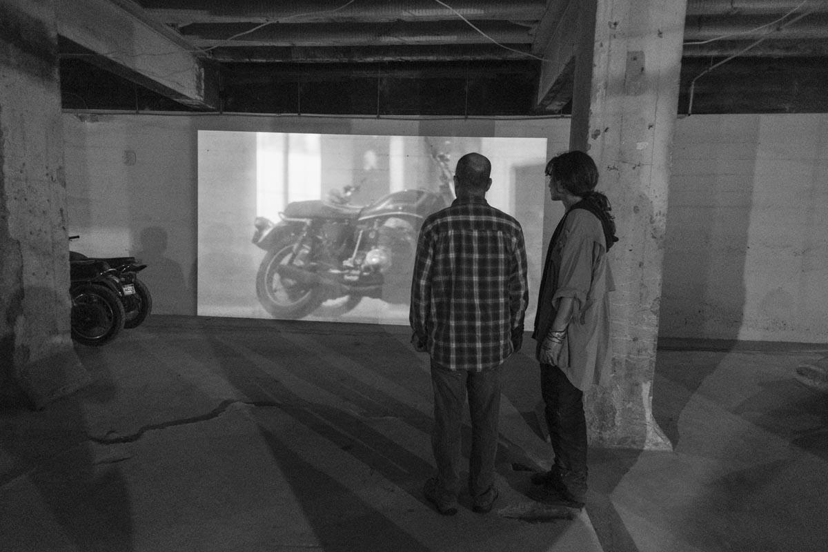 "Lisa Mueller-Trede viewing Hubert Dobler's ""Roundabout2""."