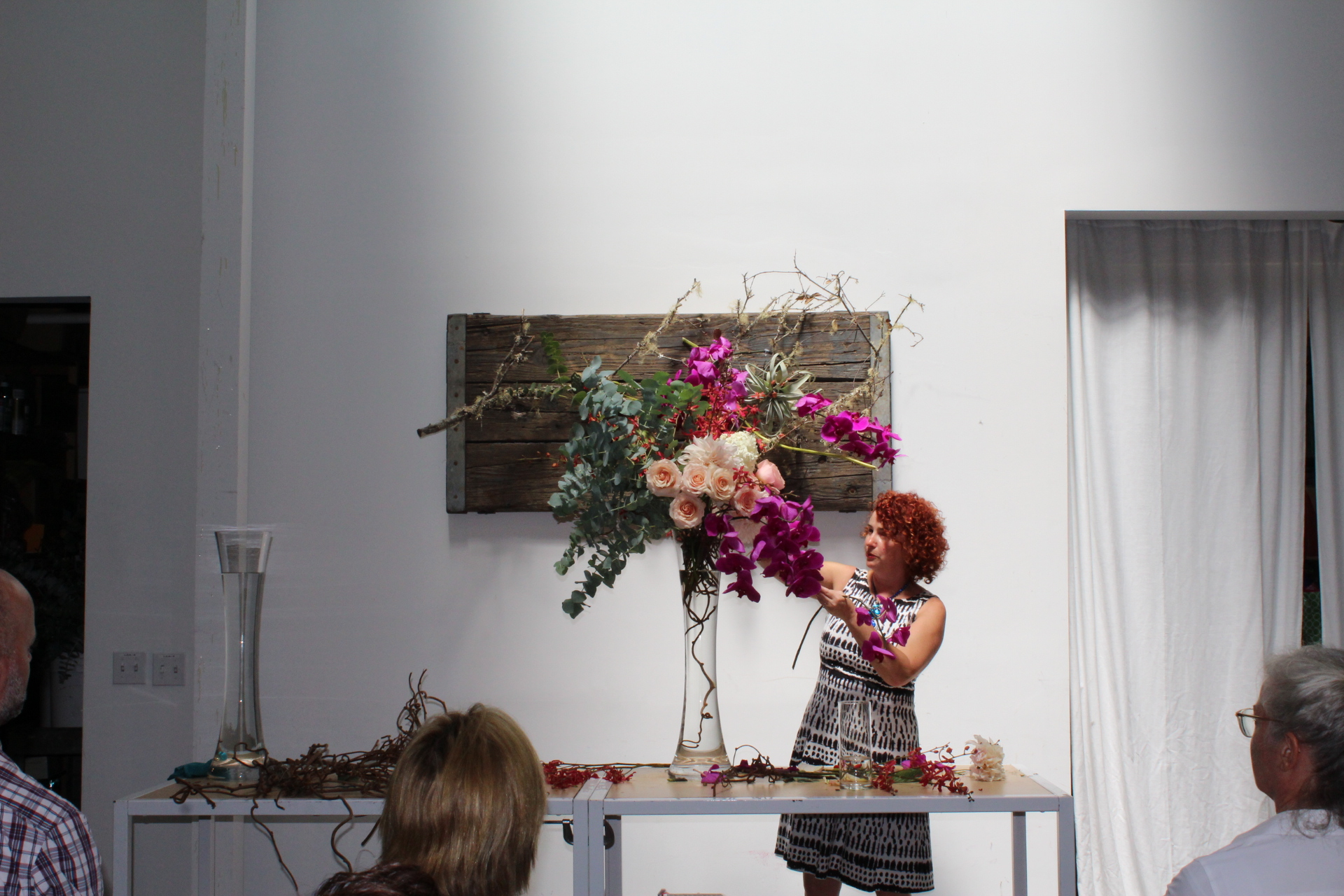 Natasha Lisita demonstrating a large centerpiece