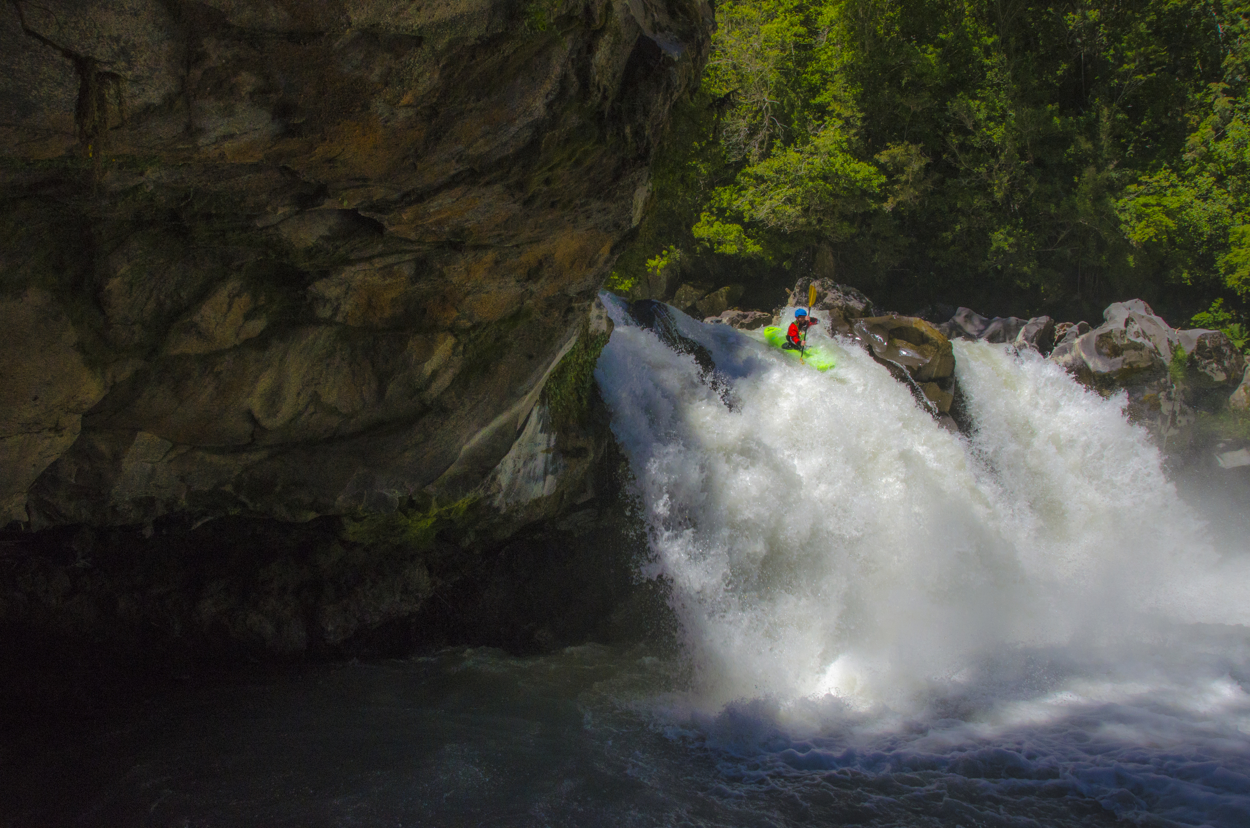 Casey Tango running a waterfall on the Rio Gol Gol, Chile 2013.