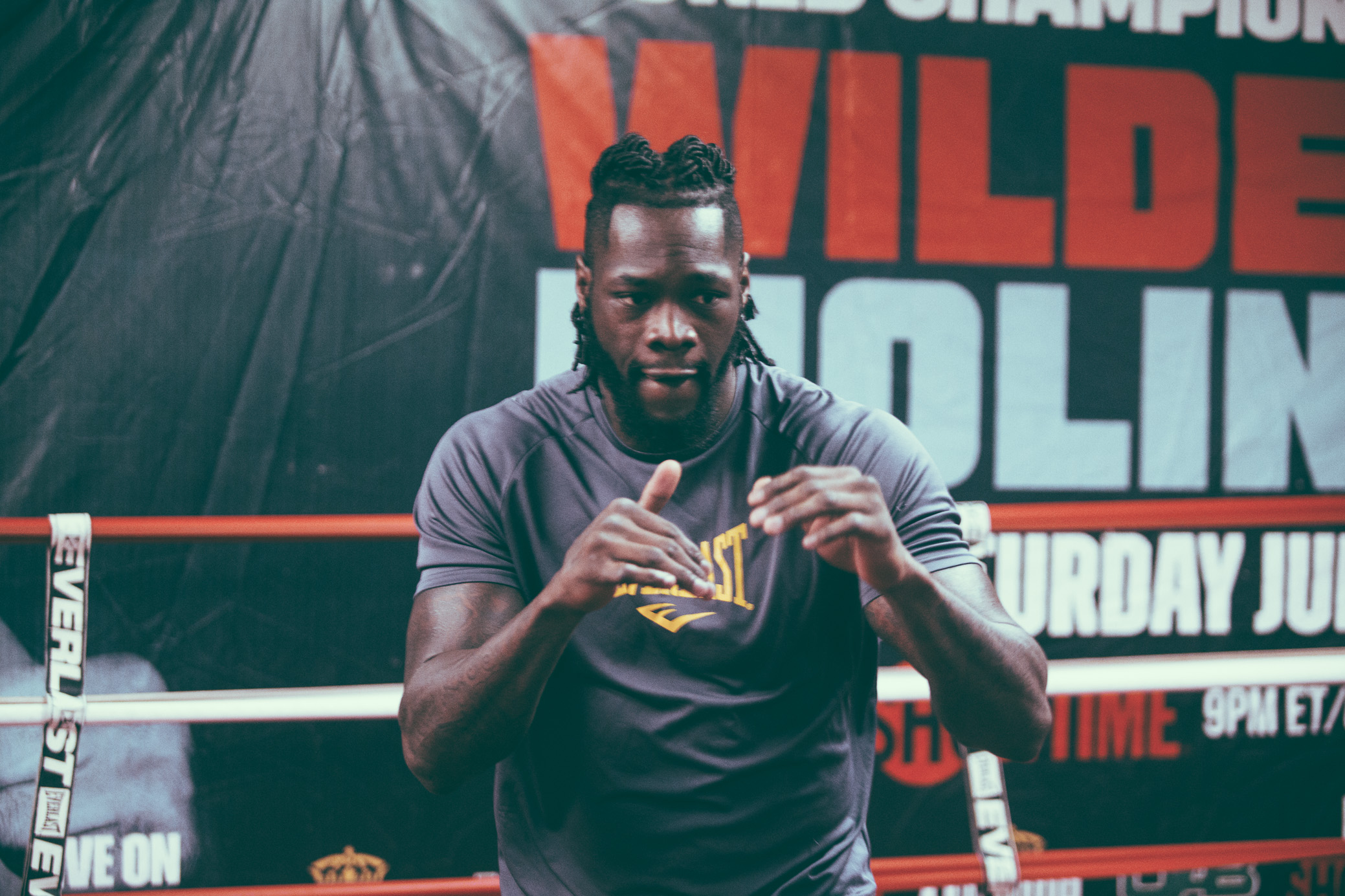 Deontay Wilder participates in a media workout at Skyy Boxing in Northport, Alabama on February 14th, 2017.   (Photo by David A. Smith/DSmithScenes)