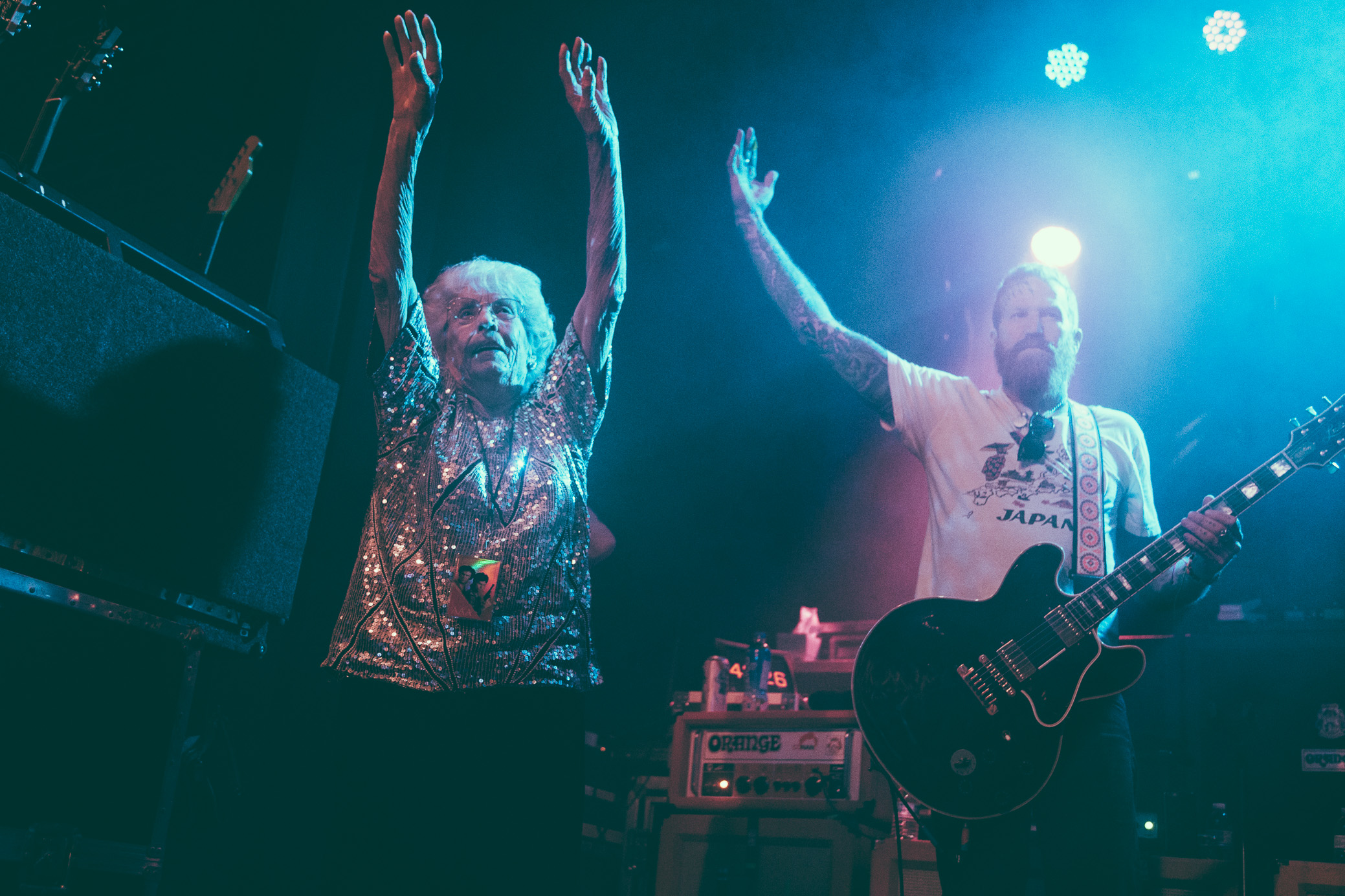 Brent Hinds of Mastodon introduces his 94 year young grandmother to the crowd at Iron City in Birmingham, Alabama. (Photo by David A. Smith/DSmithScenes)